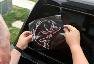Taping to Vinyl Stickers on glass